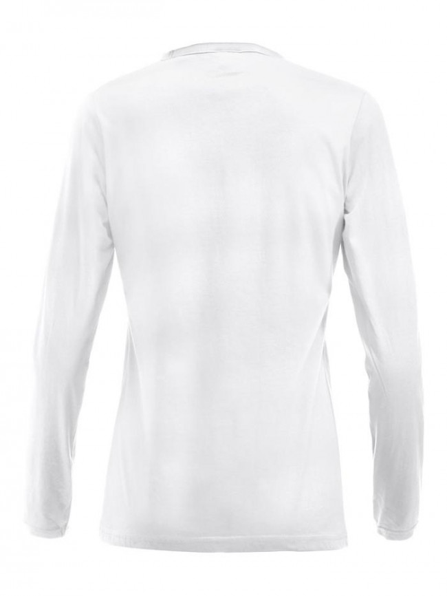 Hvid figursyet langærmet t shirt dame