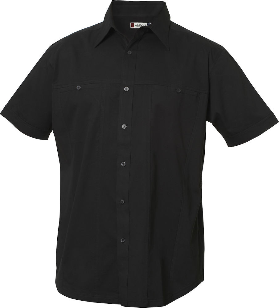 Herreskjorte med korte ærmer, Sort