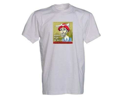 Stærk satirisk t-shirt der tager tyk gas på præs forhenværende statsmininster Anders Fogh Rasmussen