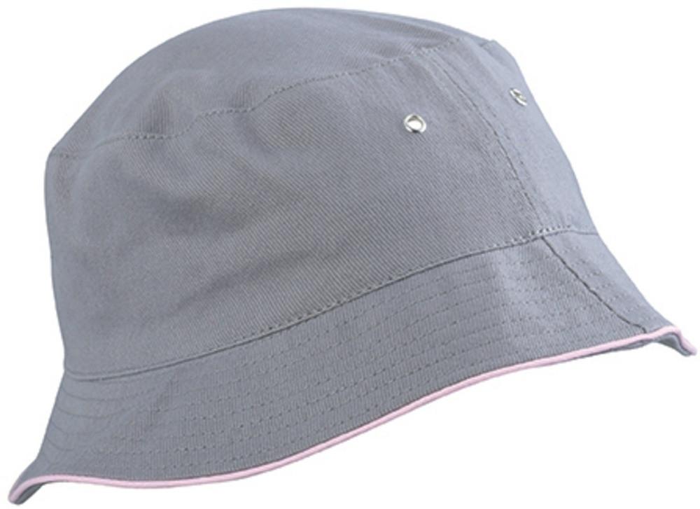 Lysegrå bøllehat med lyserød kant
