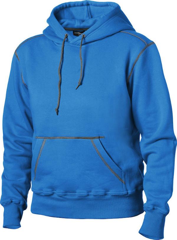 blå hættetrøje