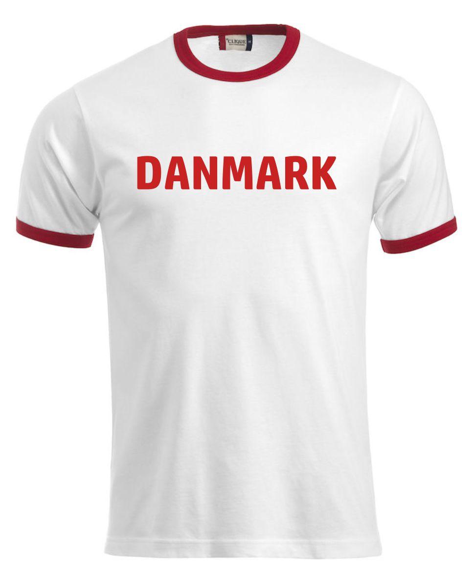 Danmarks t-shirt hvid med røde kanter.