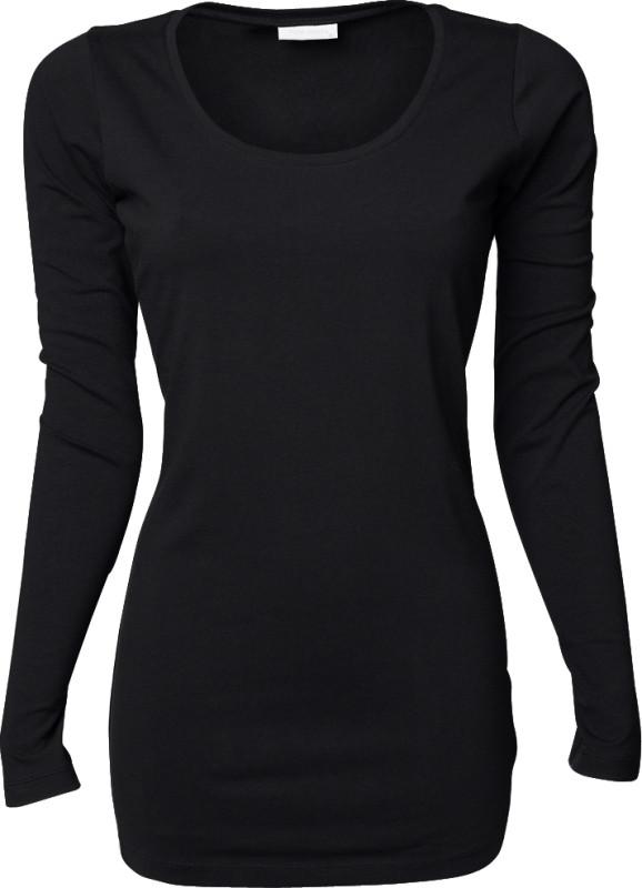 Langærmet Dame T shirt med stræk Sort