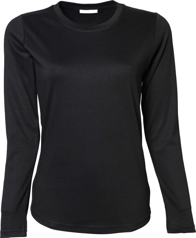 Langærmet t-shirt, sort dame trøje