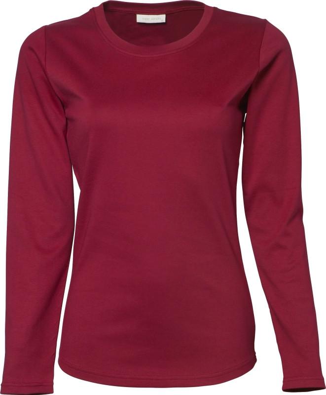 Mørkerød langærmet trøje til dame