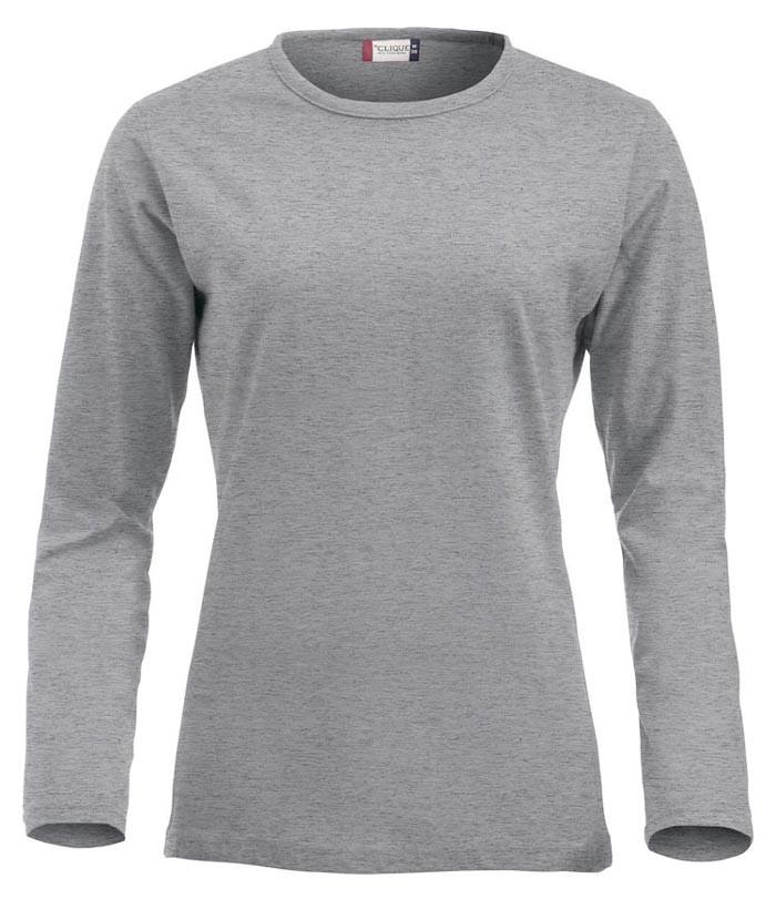 grå langærmet t-shirt til dame