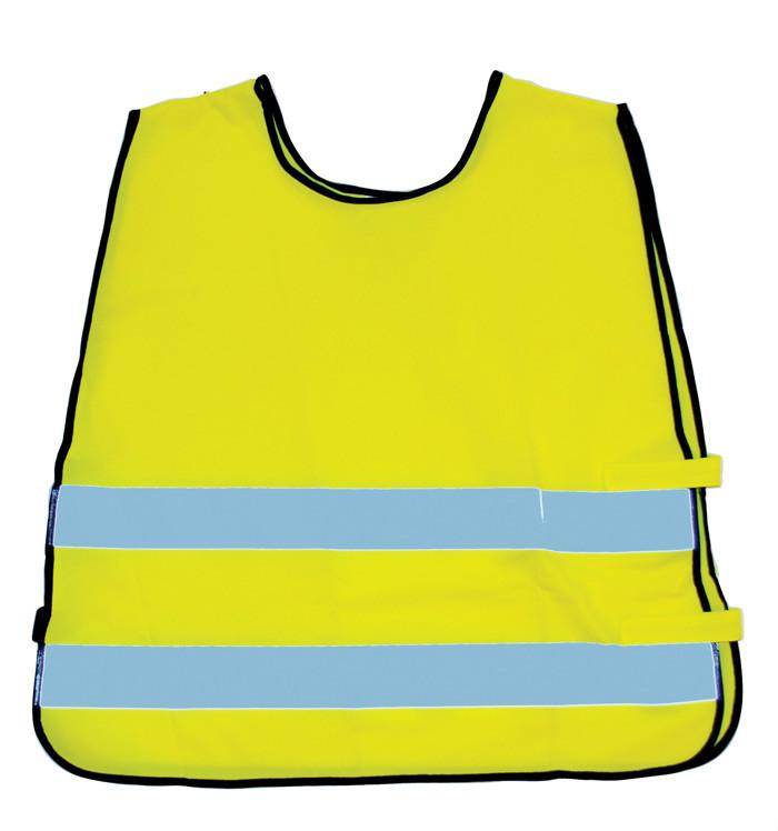 gul sikkerhedsvest til børn der færdes i trafikken.