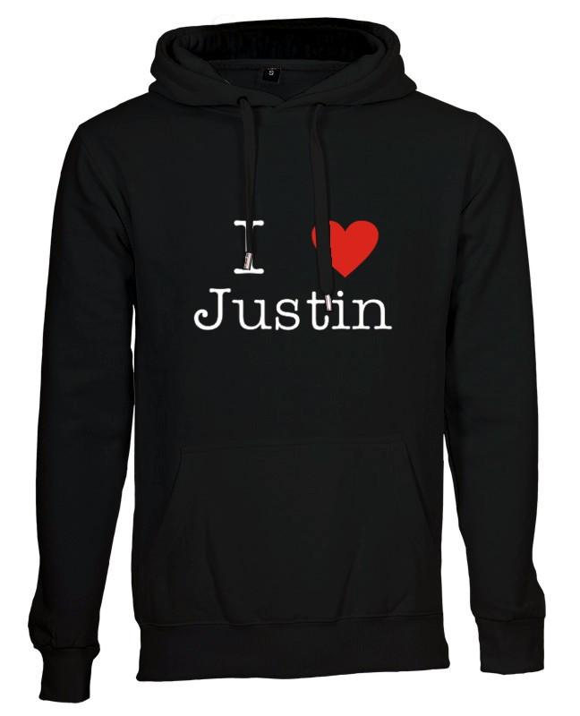 I love Justin Bieber hættetrøje