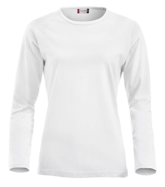 hvid langærmet t-shirt