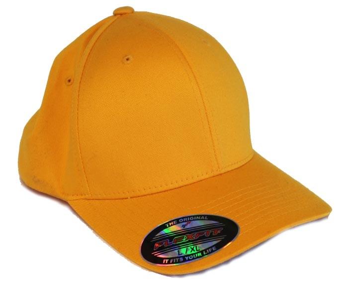 mørk gul kasket fra flexfit