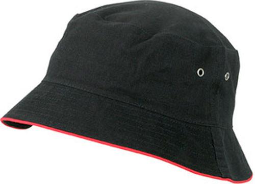sort bøllehat med rød kant