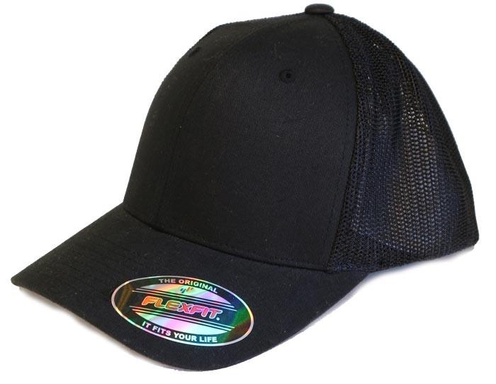 sort flex fit kasket med mesh