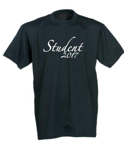 Sort studenter t-shirt med hvidt tryk