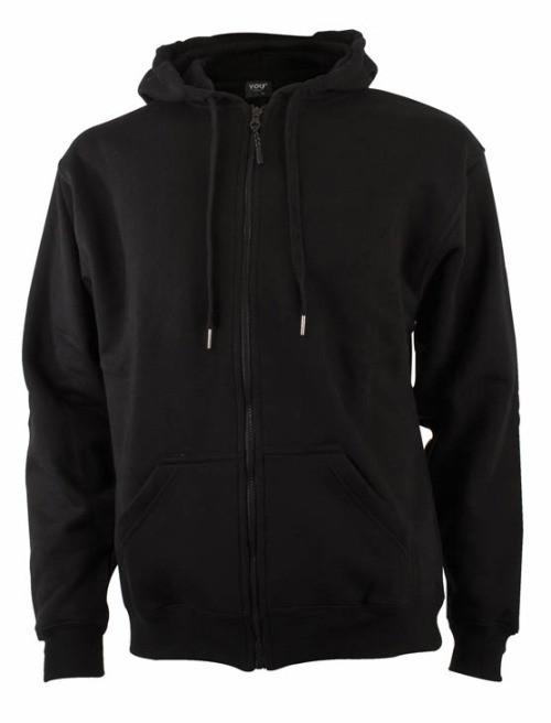 Hættesweatshirt sort med lynlås