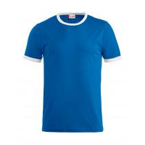 blå t-shirt med hvid kant