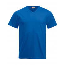 blå v-hals t-shirt