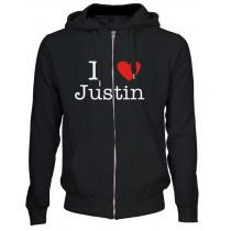 I love Justin hoodie zipper lynlås