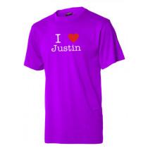 I love Justin t-shirt - lilla