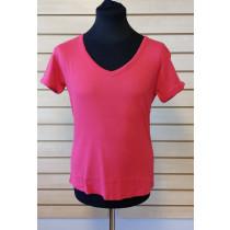Pink T-Shirt med V udskæring - Dame