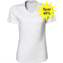 Hvid v-hals t-shirt - Billig