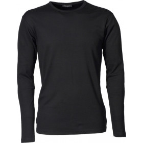 Langærmet Interlock herre t-shirt - Sort