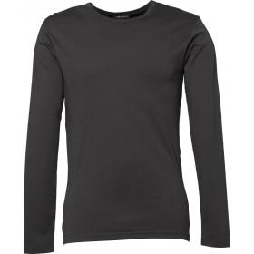 Langærmet Interlock herre t-shirt - Mørk grå