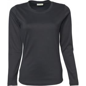 Langærmet Interlock dame t-shirt - Mørk grå