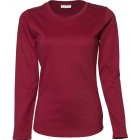 Langærmet Interlock dame t-shirt - Deep red