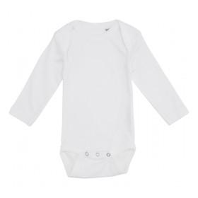 Hvid baby bodystocking med lange ærmer