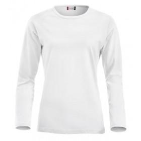 Hvid figursyet langærmet t-shirt - dame